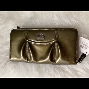 Coach Madison Patent Accordion Zip Wallet